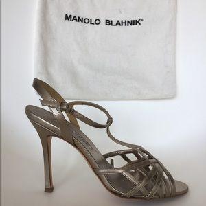 Manolo Blahnik silver leather sling back sandals